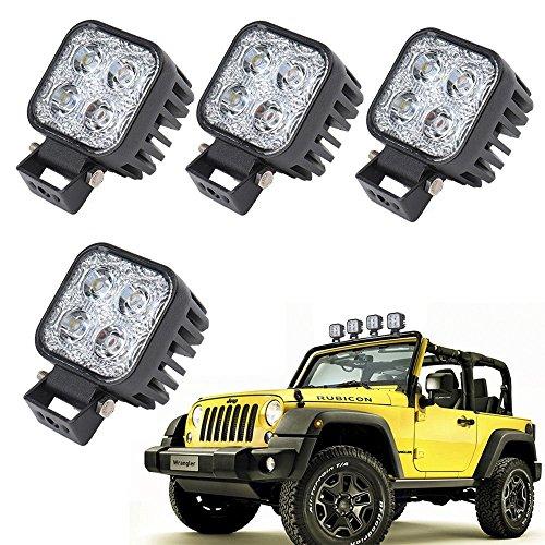 RUIX 12W 4-Pack Fahrlicht, Scheinwerferscheinwerfer, Arbeitslicht, Autolicht, DC 10-30V, Autolampe, IP67 Wasserdicht, Für SUV, Jeeps, Trucks, Traktoren, Geländefahrzeuge, Baumaschinen, Sonderfahrzeuge