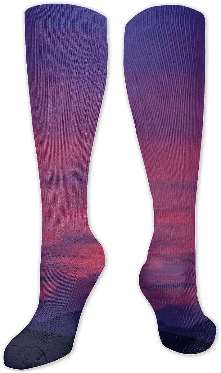 Dusk Purple Sky Knee High Socks Leg Warmer Dresses Long Boot Stockings For Womens Cosplay Daily Wear