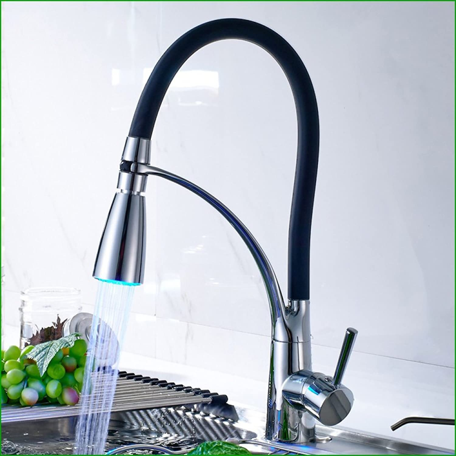 FW Pull-out kitchen faucet basin sink mixer sink telescopic spring-operated faucet hot and cold all copper outlet LED
