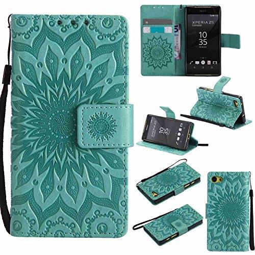 pinlu® PU Leder Tasche Etui Schutzhülle für Sony Xperia Z5 Compact (4,6 Zoll) Lederhülle Schale Flip Cover Tasche mit Standfunktion Sonnenblume Muster Hülle (Grün)