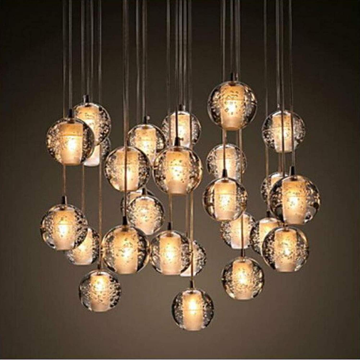 MICHEN Cluster Pendant Light Ambient Light - Crystal, 90-240V, Warm White, Bulb Included   G4   0-5㎡,3discsH1m