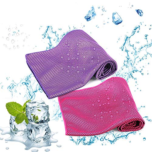 Idefair Cooling Towel,Ice Cold Towel for Men Women Evaporative Chilly Towel for Yoga Running Fitness Gym Workout Camping Work & More Activities 2 Pack (Purple&Rose Red)