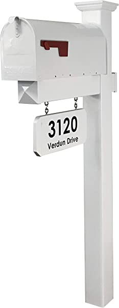 4EVER The Harrison Vinyl PVC Mailbox Post Includes Mailbox Complete Decorative Curbside Combo Mailbox System With Classic Traditional Style White Mailbox