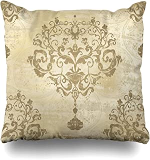 AlliuCoo Throw Pillow Covers Bright Silver Modern Damask Floral Pattern Vintage Rococo Royal Antique Gold Baroque Old Design Home Decor Zippered Cushion Case Square Size 16