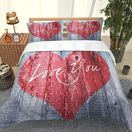 CLQPYQ King Size Bedding Duvet Covers Set For Teenage - 100% Brushed Microfiber Red Heart Duvets Cover Sets 230X220cm With 2 Pillowcases, Super Soft Fluffy Home Bedding Set Quilt Cover