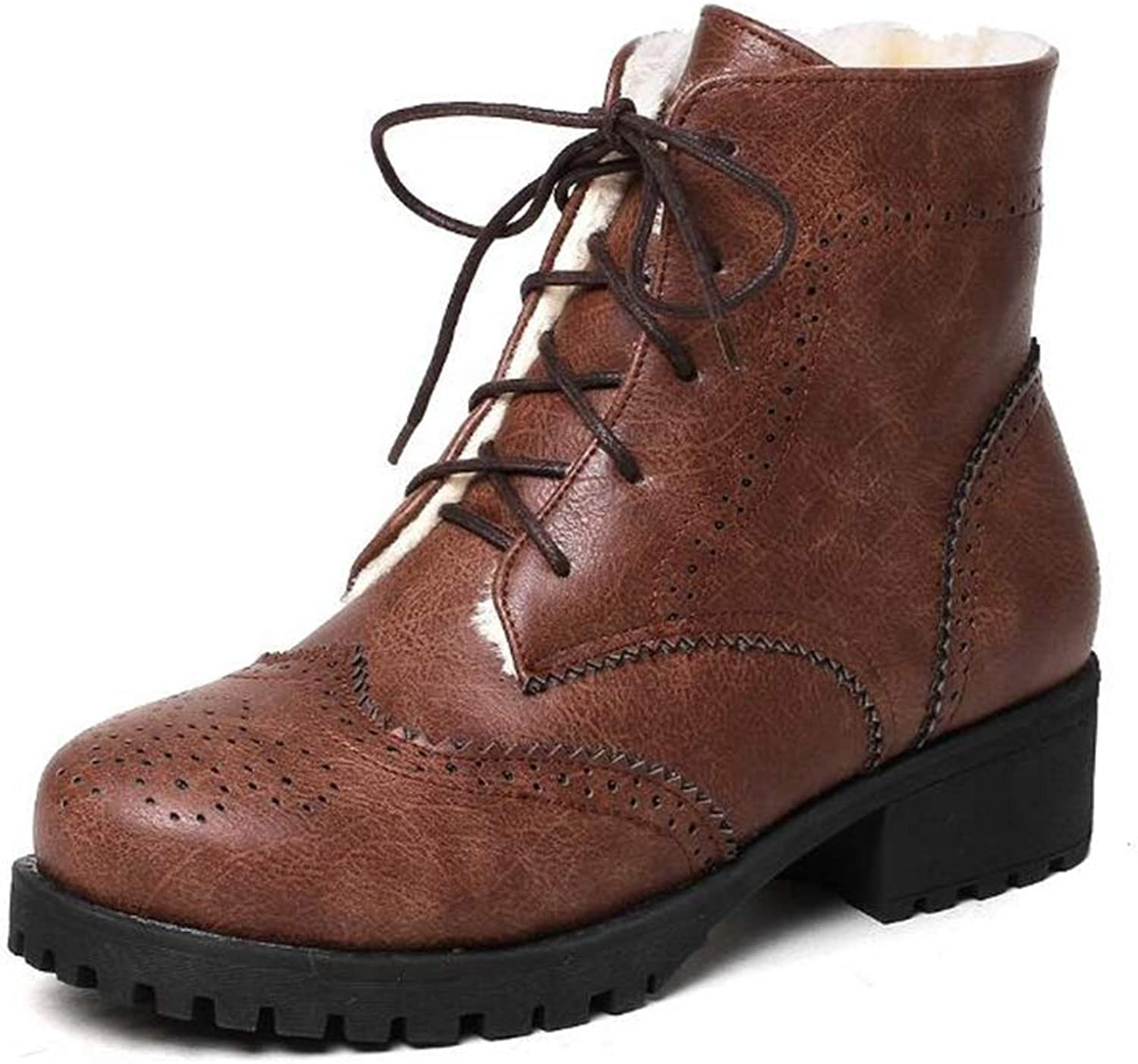 Hoxekle Winter Women European Style Ankle Boots Square Heels Round Toe Lace-Up Martin Boots Faux Leather Fashion shoes