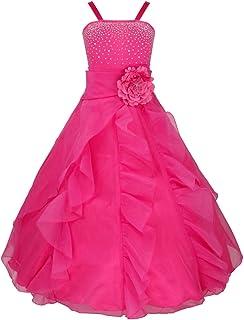 4e0581e067f4d YiZYiF Enfant Fille Robe Mariage Robe Demoiselle d'honneur Bustier Robe  Paillettés Jupe Longue Robe
