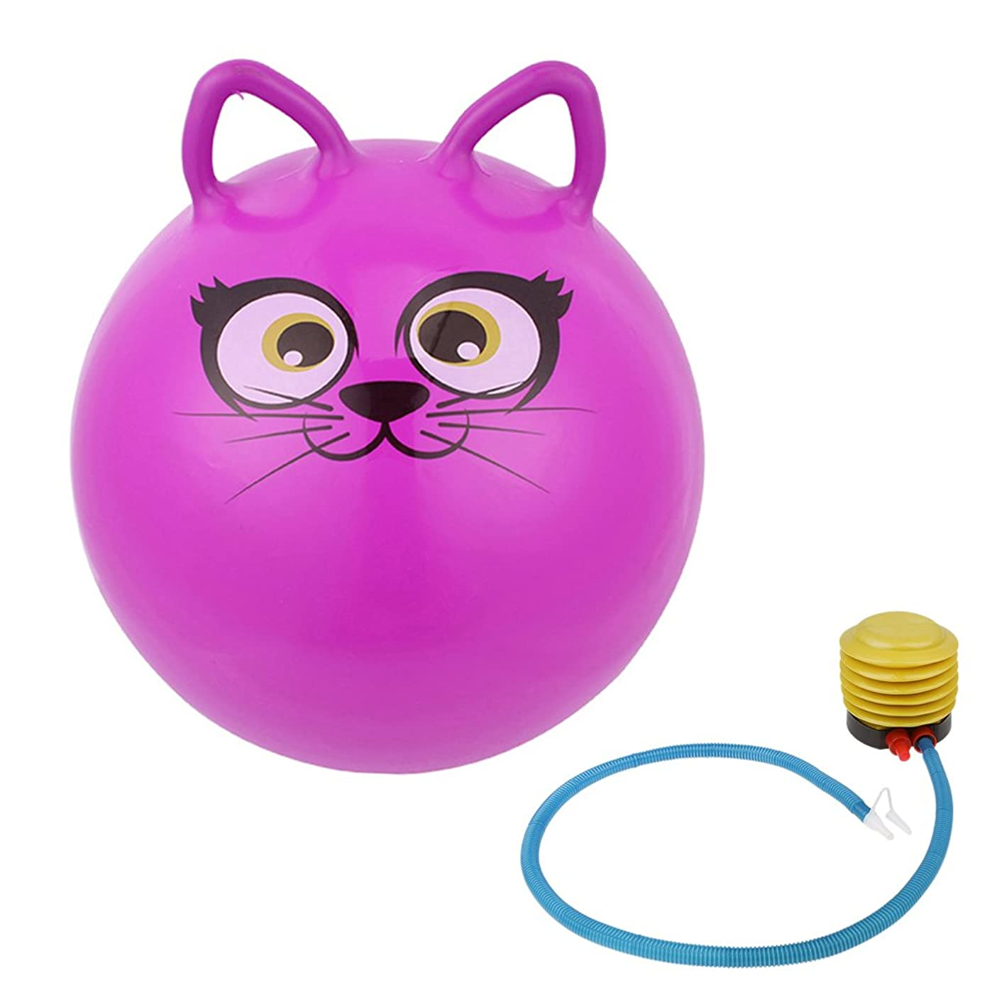 Jili Online 18'' Cute Jump Bouncing Hop Space Hopper Ball Cat Ear Shaped handle Kids Outdoor Toy Inflatable Purple