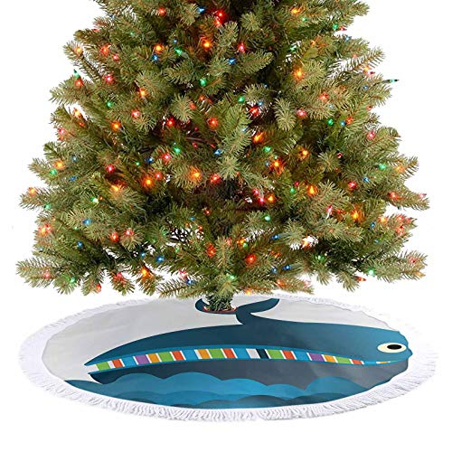 Christmas Tree Skirt Decorations Cheerful Whale with Colored Rainbow Teeth Swimming in Sea Cartoon Style Colored Holiday Party Tree Mat for Indoor Outdoor Xmas Party Holiday Decorations - 48 Inch