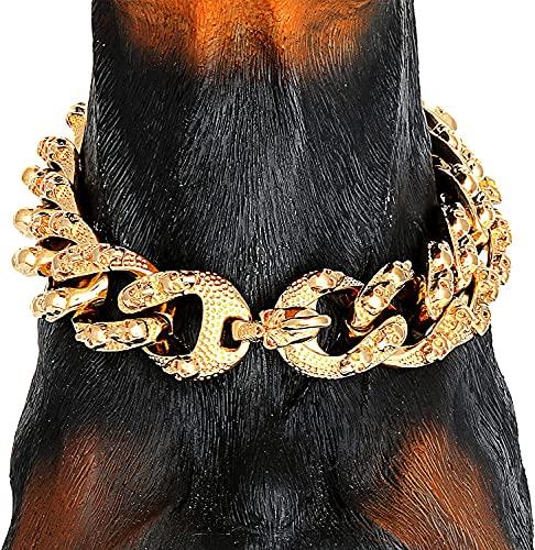 ZJING Collar de Cadena de Perro Dorado con patrón de Calaveras Frescas, Cadena de eslabones de Acero Inoxidable de 18 Quilates, Collar de 30 mm, Collar de Entrenamiento para GOG Grande,24in/61cm