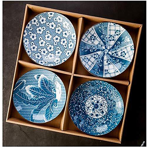 Plato de Cena 10 Pollici Piatti In Ceramica BLU Piatti Bistecca Stile Occidentale Pasta Insalata Di Frutta Piatto Da Tavola In Stile Giapponese Artico