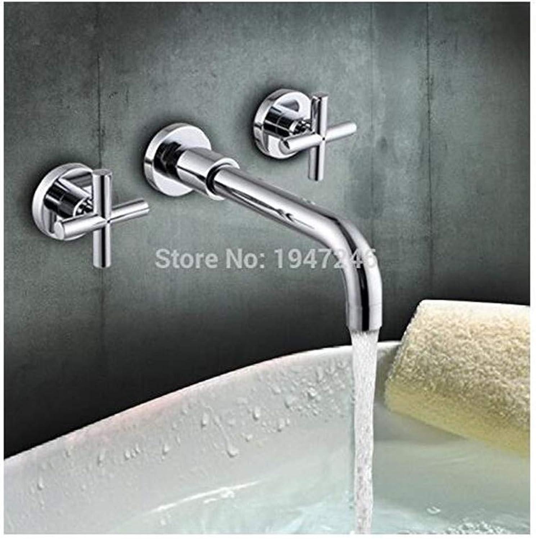 Faucet Modern Plated Mixer Faucet Bathroom Sink Mixer Tap Modern Chrome Brass Wall Mounted Bathroom Basin Mixer Faucet Dual Handles