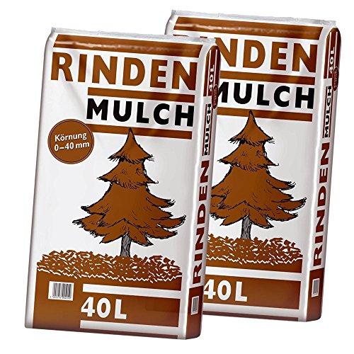 2 Sack Rindenmulch á 40L = 80 Liter Mulch 0-40mm (Qualität aus Bayern !)