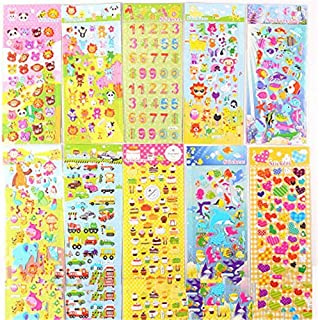 XCVBN Baby Sticker Mini 3D Puffy Bubble Cartoon Princess Sticker Waterpoof DIY Classic Toys For Children Toy Girl Boy Sticker 5 Sheets