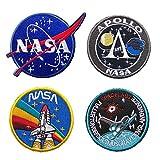4 estilos Premium NASA parches con gancho y bucle en la parte trasera para chaquetas y bolsos, parches de bordado para brazalete, parches para coser en el espacio