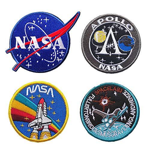 4 stijlen Premium NASA Patches met haak en lus ondersteund voor jassen en tassen, borduurwerk Patches Set voor Armband, Naai op Space Patches voor kleding reparatie, 3.1 Inch 4 Stijl