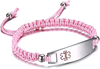 JF.JEWELRY 12 mm Medical Alert Bracelet for Kids with Nylon Braided Band, Free Engraving