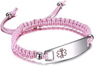 12 mm Medical Alert Bracelet for Kids with Nylon Braided Band, Free Engraving