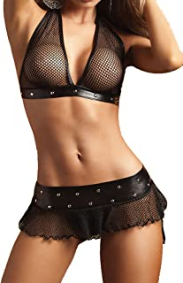 Plus Size Women Sexy PVC Leather Mesh Patchwork Lingerie Halter Top and Mini Skirt with G-String Set Black