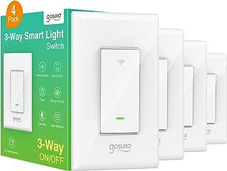 سوئیچ هوشمند Gosund ، سوییچ نور 3 وای فای با الکسا و Google Home کار می کند ، تایمر برنامه ، سیم خنثی مورد نیاز ، نصب تک قطبی و 3 طرفه ، بدون هاب ، ETL و FCC ذکر شده (4 بسته ای)