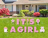JHome It's A Girl Pink Baby Shower Lawn Decorations Yard Signs with Stakes - Each Letter is 18 Inch Tall - Includes Bonus Star, Teddy Bear, Milk Bottle and Balloon Signs