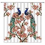 Tingrun Duschvorhang-Set mit Pfauenmotiv, rosa Kirschblütenblüte, blaugrüne Federn, Aquarellfarben, Sakura-Weiß, 180 x 180 cm, mit Haken, Blau & Rosa