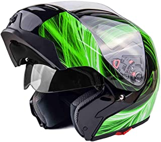 Typhoon G339 Modular Motorcycle Helmet DOT Dual Visor Full Face Flip-up - Green XL