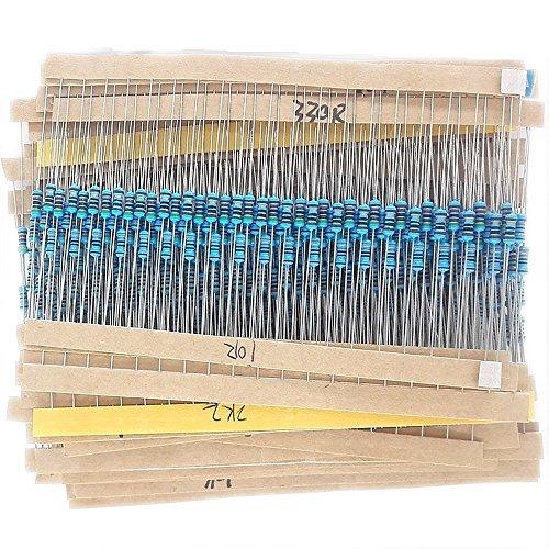 McIgIcM Resistor kit,600pcs Electronics 1/4W Metal Film Resistor kit 1% 30 Value 1/4w resistors Pack Metal Film Full Range resistors Assortment Kits