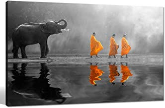 sechars – Elephant Wall Art,Human at Peace with Nature,Monk in Yellow Frock Alms..