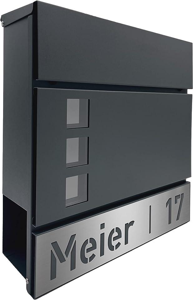 AlbersDesign - Briefkasten mit personalisierter Edelstahlblende (mit Name & Hausnummer)