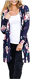 RkYAO Women's Open Front Long Sleeve Casual Printed Kimono Cardigan