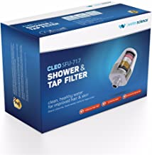 WaterScience Cleo Shower & Tap Filter - Reduces Hair Fall, Protects Skin & Prevents Limescale - with Hard Water Protection (Matte Silver & Pearl White, SFU-717)