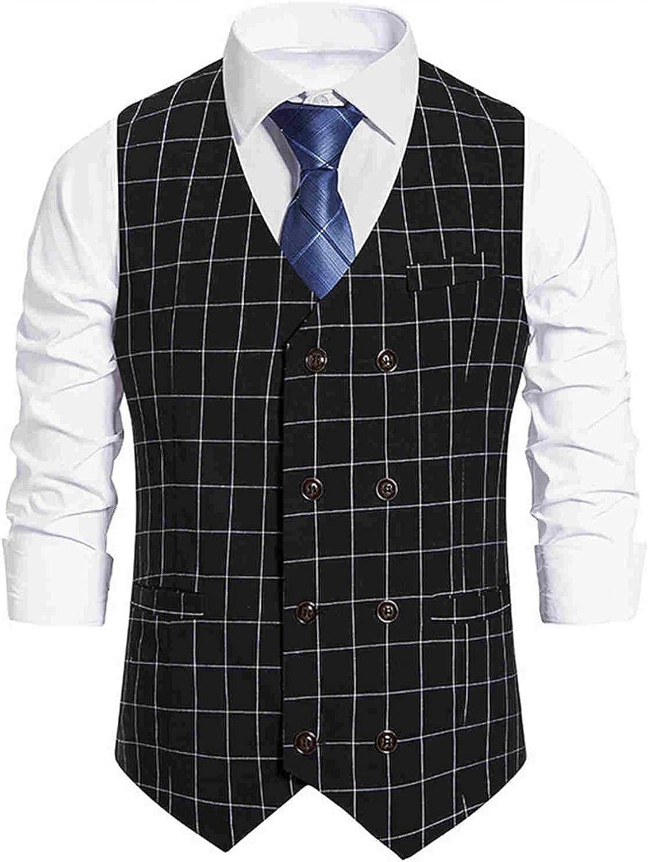 KEEYO Mens Casual Slim Fit Business Dress Suit Vests Sleeveless Lightweight Formal Wedding Party Vest Jacket Waistcoat
