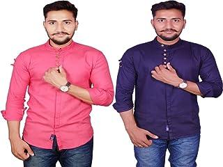 VERO LIE Men's Blue Pink Cotton Blend Casual Shirt Combo74