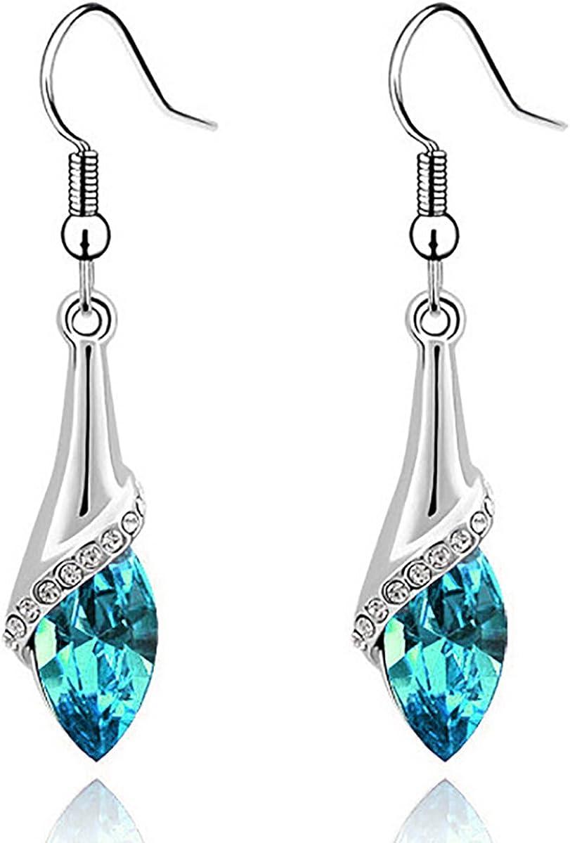 SmallDragon Women's Swarovski Elements Crystal Light Blue Teardrop Earrings Necklace Bracelet Jewelry Set