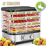 COOCHEER Essiccatori per Alimenti, Temperatura Regolabile da 35-70℃, Essiccatore frutta e verdura, 8...