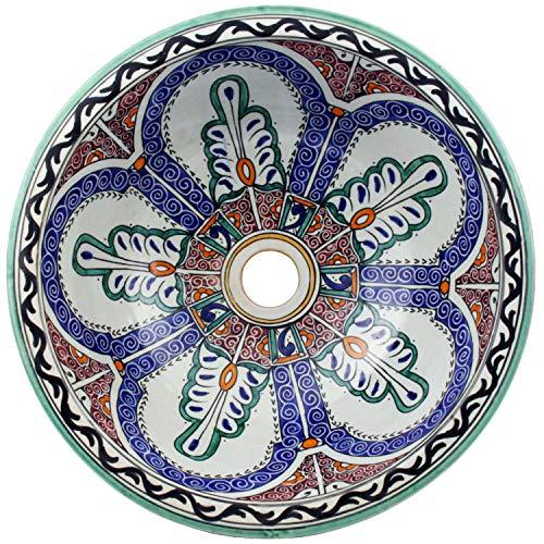 Casa Moro Mediterranes Keramik-Waschbecken Fes128 rund Ø 35cm bunt H 14cm handbemalt | Marokkanisches Handwaschbecken für Bad Gäste-WC | Einfach schöner Wohnen | WB35128