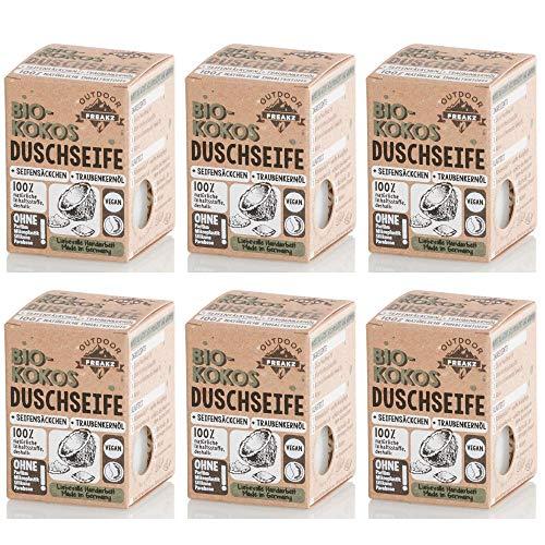Bio Duschseife mit Seifensäckchen ohne Plastik und Palmöl (6 x Kokos)