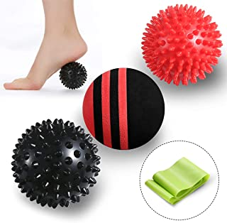Massage Spiky Balls Muscle Roller Set - Trigger Point Myofascial Release Massager Balls Deep Tissue Physical Therapy Muscle Massager Tools with Resistance Band Pouch for Foot Shoulder Back (3 Pack)