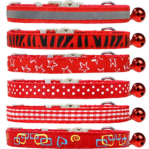Dynmeow 6 Pack Red Mixed Pattern Cat Collar Breakaway with Removable Bell