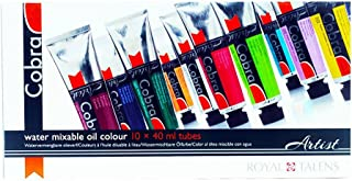 Royal Talens Cobra Artists' Water Mixable Oil Color Value Pack, 40 mlTubes, 10 Assorted Colors (21820510)