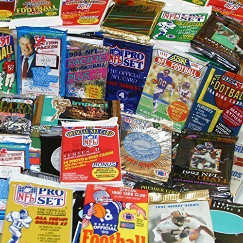 100 Vintage Football Cards in Old Sealed Wax Packs - Perfect for New...
