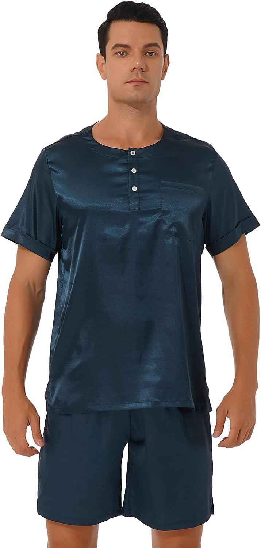 ranrann Men's Loose Satin Pajama Set Short Sleeve Button Tops Elastic Waistband Shorts Sleepwear