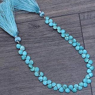 Jaipur Gems Mart Perlas de 5 mm a 6 mm de corazón Turquesa Raro Natural, brioletas de Piedras Preciosas | Cuentas de Piedr...