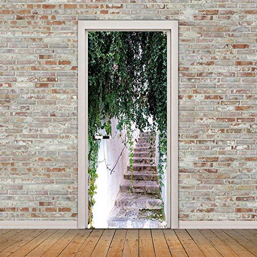 Escalera hoja verde planta puerta etiqueta de la pared extraíble impermeable decoración del hogar pegatinas papel autoadhesivo