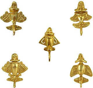 Across The Puddle, Ancient Aliens Jewelry Collection, 24k Gold Plated 5 Pre-Columbian Quimbaya Golden Jet-Flyer Lapel Pins with Military Clutch Bundle-1