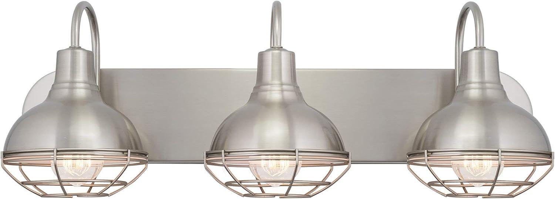 Kira Home Liberty 24  3-Light Modern Industrial Vanity Bathroom Light, Brushed Nickel Finish