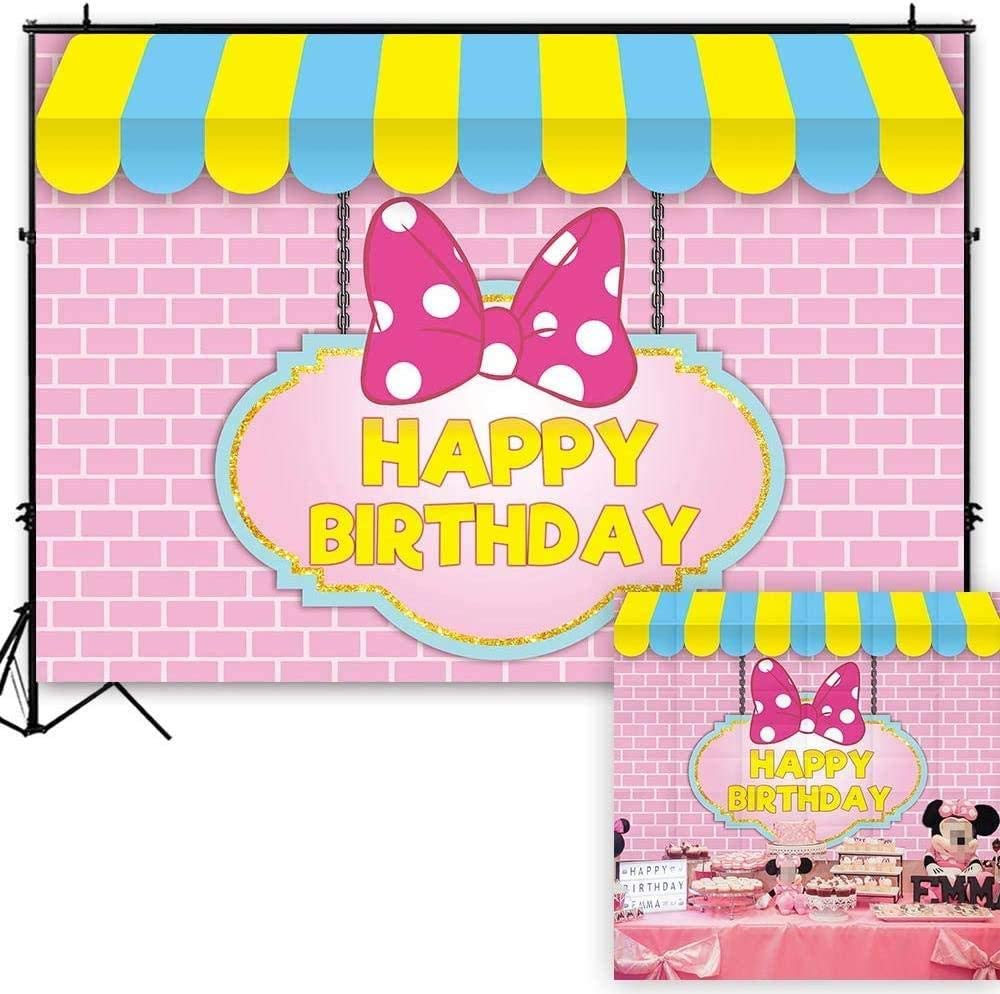 New 7x5ft Pink Bowknot Birthday Party Backdrop Brick Wall Princess Baby Girl Photography Background Cartoon Mouse Stripes Cake Table Decoration Banner Photo Studio Booth Props