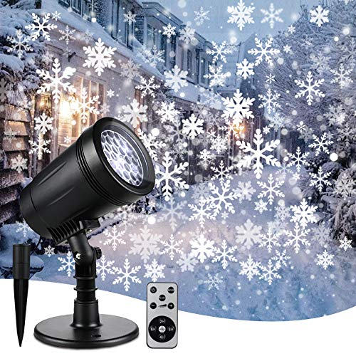 Christmas Projector Lights Outdoor &Indoor,Snowflake Waterproof Decorative Lights with Remote...