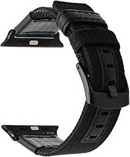 ba7cca152c9 for Apple Watch Band Woven Nylon Watchband Genuine Leather Sport Strap  Replacement Band for iWatch Series